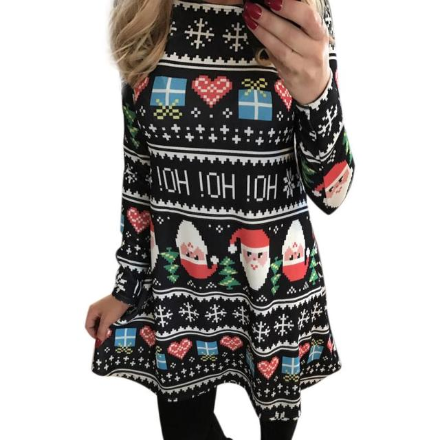 print standard mid women xmas print swing dress ladies christmas long sleeve flared party dresses camouflage