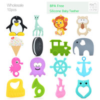 10pcs/lot Wholesale Silicone Giraffe Teether Raccoon Pendant Necklace Biscuit Baby Chew Toys Penguin Silicone Jewelry