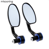 Mtsooning 7 8 22mm Motorcycle Rear View Mirrors Handlebar Bar End Mirror Side Red Grips Universal