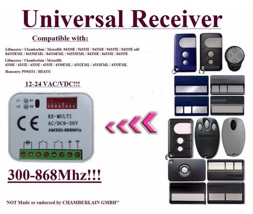 Universal receiver Compatible with Motorlift / HOMENTRY/chamberlain 433,92Mhz Remote control rolling code receiver