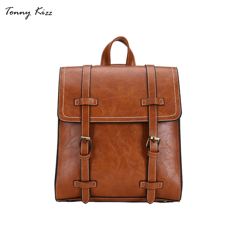 Tonny Kizz vintage backpack women mochila mujer leather laptop backpack high quality school bag for teenage girls large capacityTonny Kizz vintage backpack women mochila mujer leather laptop backpack high quality school bag for teenage girls large capacity