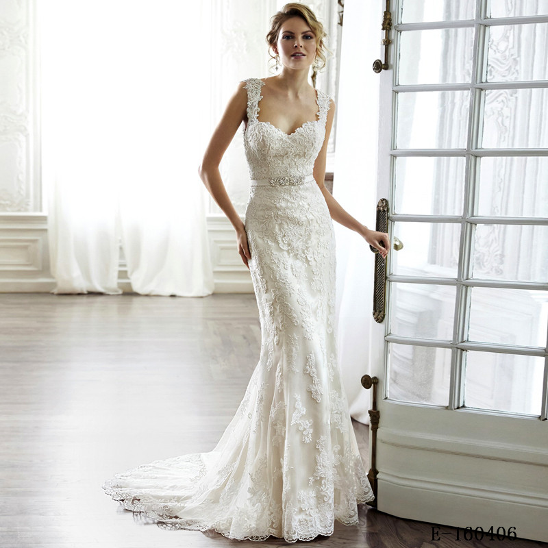 Vintage Wedding Dress Court Train Backless Full Lace