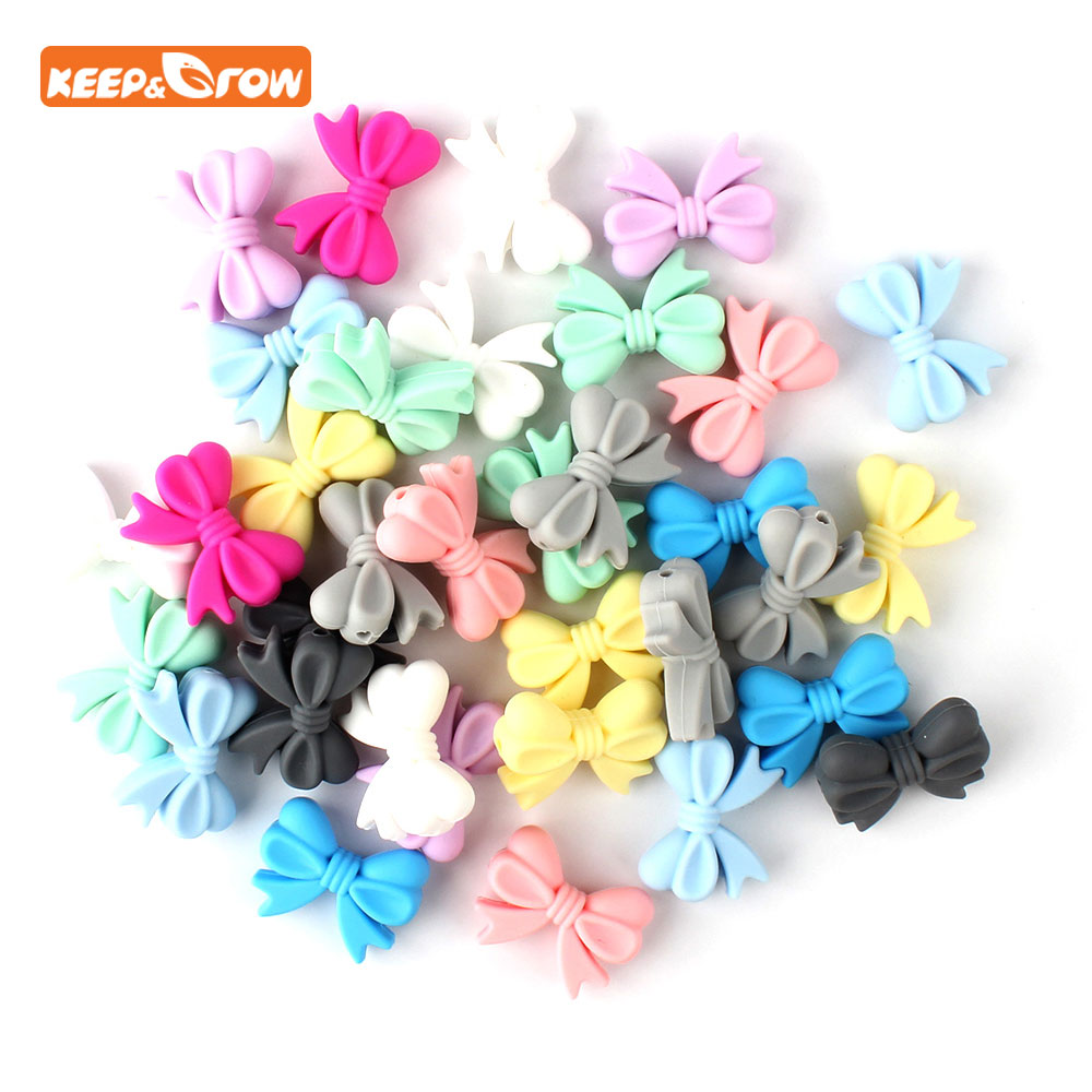 Keep&grow 5Pcs Bowknot Silicon Beads  Bow Tie Baby Teething Bead BPA Free Nursing Jewelry Chewable Silicone Baby Teething Gift
