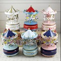 Wooden Merry-Go-Round Horse Music Box Christmas Birthday Gift Carousel Music Box 14 colors option