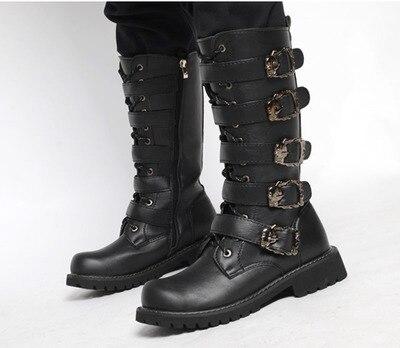 Chaussures Boucle Militaires En Punk Homme Deprtivas Métal Hombre Moto Rock Black1 Mâle Zapatillas Combat De Cuir Armée Bottes zMVGSpqU