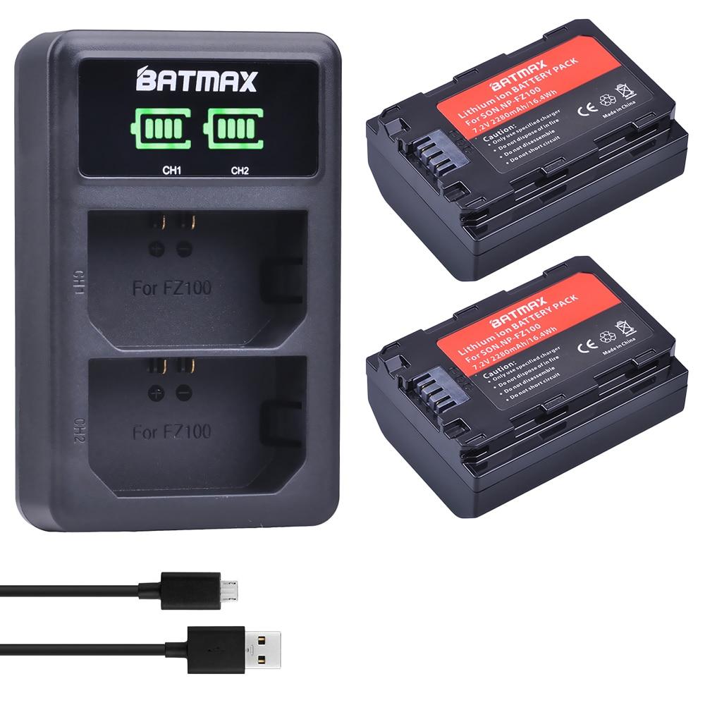 2pcs 2280mAh NP-FZ100 NP FZ100 Battery+LED Dual USB Charger for Sony NPFZ100, Alpha9,Sony A9,Sony Alpha9R,Sony A9R Camera np f960 f970 6600mah battery for np f930 f950 f330 f550 f570 f750 f770 sony camera