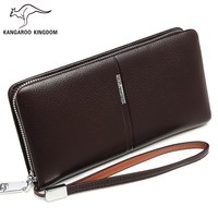 KANGAROO KINGDOM Luxury Genuine Leather Men Wallets Brand Long Business Male Clutch Purse Card Holder Wallet
