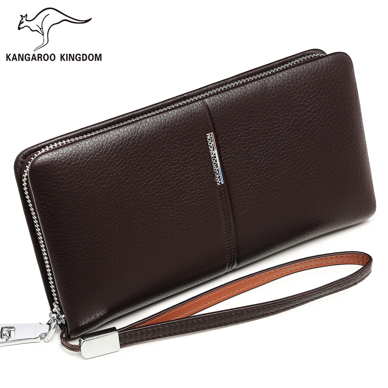 KANGAROO KINGDOM luxury genuine leather men wallets brand long business male clutch purse card holder wallet