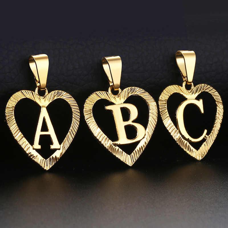 Damskie dziewczyny A-Z breloczek z inicjałem naszyjnik w kształcie serca złoty wisiorek alfabet hurtownia biżuterii prezenty walentynkowe dla kobiet
