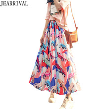 Vintage Print Maxi Skirt 2017 New Summer Fashion Women High Waist Runway Style Holiday Beach Long Skirts Saias Faldas Mujer