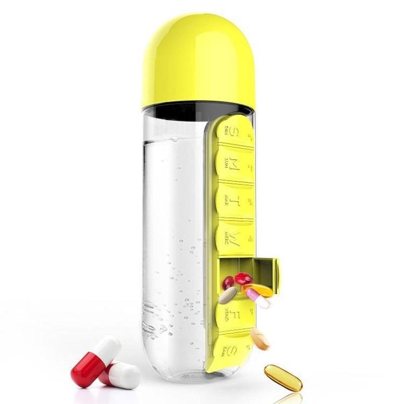 600ml Sports Plastic Water Bottle Combine Daily Pill Boxes Organizer Drinking Bottles Leak-Proof Bottle Tumbler Outdoor