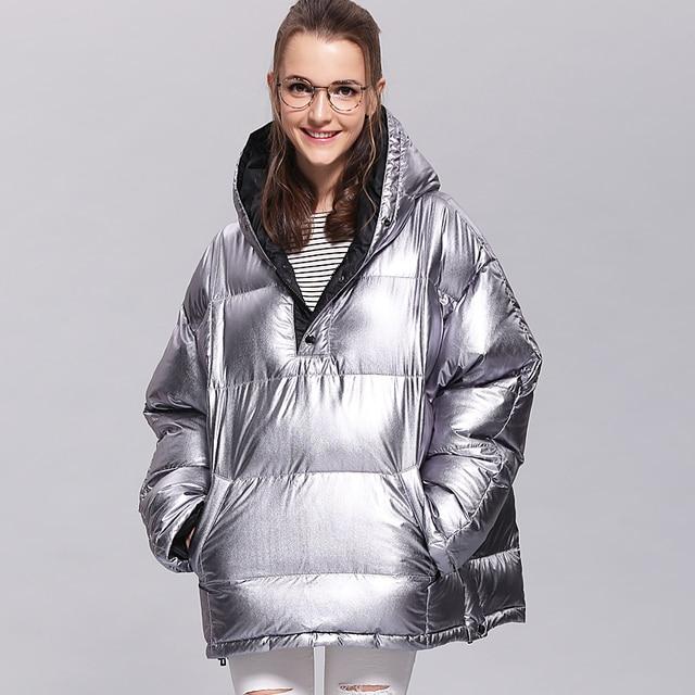 Для женщин Пух куртка Новый 2017 короткая белая утка Пух корейский плащ с капюшоном пончо ленты Bling блестящие теплый пуховик AS8001