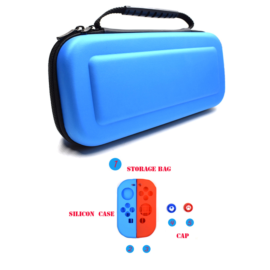 5 in 1 Kit Nintend Case Hard Box Big Storage Bag Travel Carrying Pouch for Nintend Switch NS Console 2 Silicone Case Analog Caps 1