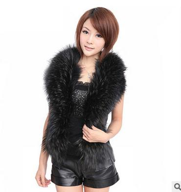 S/4Xl Womens Spring And Autumn Short Setcion Pu Leather Faux Fox Fur Vests Plus Size Casual Waistcoats Sleevless Jackets J1399