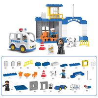 Diy Police Station Police Office Duploed Big Size City Policeman Figures Block Bricks Toys Christmas Gifts