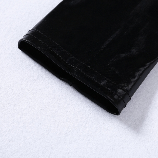 2020 Lady Women Wet Look Sexy Black Fingerless Arm Length Gloves Elastic Shiny Mid-Upper New Solid Fashion 4