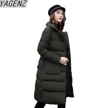 YAGENZ Winter New Women's Down Cotton Coat 2017 Korean Large size Down Cotton Overcoat Female Casual Big pocket Cotton Outerwear
