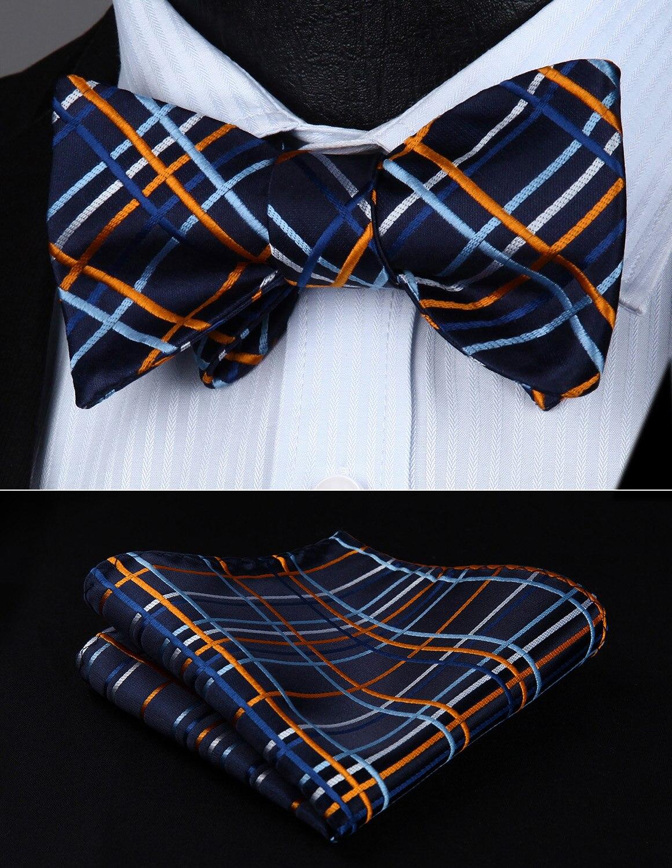 BC808VS Orange Navy Blue Check Wedding Bowtie Men Silk Self  Bow Tie Handkerchief Set