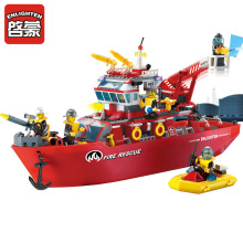 ENLIGHTEN 359pcs Fire Rescue Multi-Function Boat Crane Fireman Assemble Model Building Blocks Minifigures Educational Kids Toy
