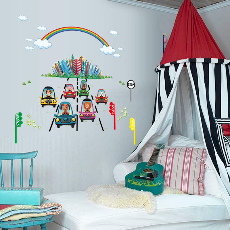 Rainbow City Traffic Light Cartoon Animal In Car D Wall Door - Traffic light for bedroom