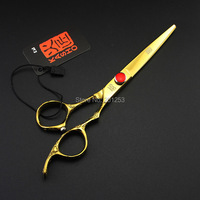 Golden Color 6 0Inch Professional Cutting Scissors JP440C Hair Shears For Salon Hairdresser With Plum Flower