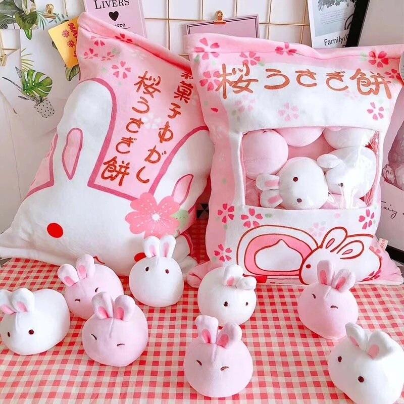 A bag of rabbit pudding plush toys simulation snack throw pillow kawaii pink sakura rabbit plush creative toys for children/baby