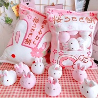 A bag of rabbit pudding plush toys simulation snack throw pillow kawaii pink sakura rabbit plush creative toys for children/baby
