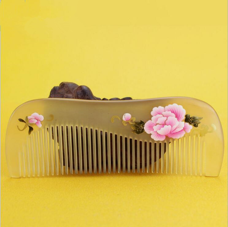 Hight quality 13cm Natural Horn Comb Of Hair Health Care handmade flower Hair Brush Hairdressing Pocket no static Comb best gift hair care hight quality real ebony black comb 1 piece health care hair styling tools hair brushes best gift