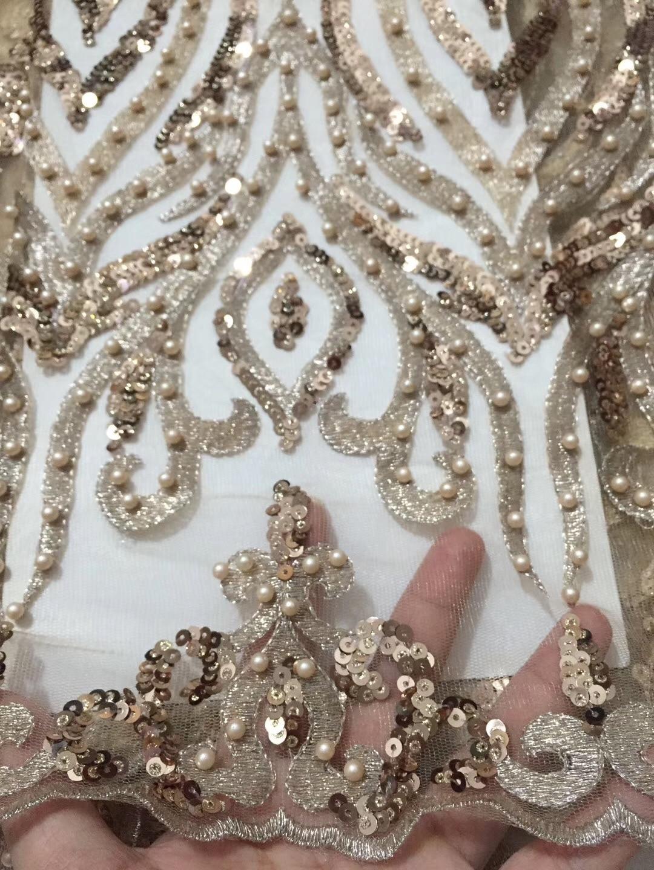 BEAUTIFICAL français tulle dentelle tissus 2018 africain français maille dentelle tissus avec perles et paillettes brillant dentelle 5 yards/ lot ZSN10