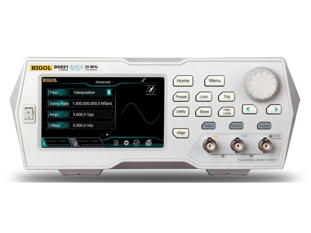 Rigol DG821 25 MHz Function Arbitrary Waveform Generator 1 Channel 4 3 TFT color touch screen