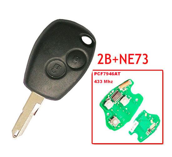 Free shipping 2 Button Remote Key With Pcf7946 Chip Round Button With NE73 Blade for Renault 5pc/lot free shipping 2 button remote flip key with pcf7947 chip 433mhz for renault clio 1piece