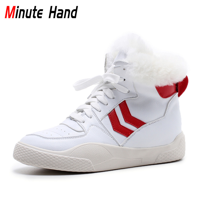 Minute Hand Genuine Leather Platform High Top Sneakers Lace Up Women Ankle Snow Boots Thick Fur Warm Female Winter Wool Shoes fedonas top quality winter ankle boots women platform high heels genuine leather shoes woman warm plush snow motorcycle boots