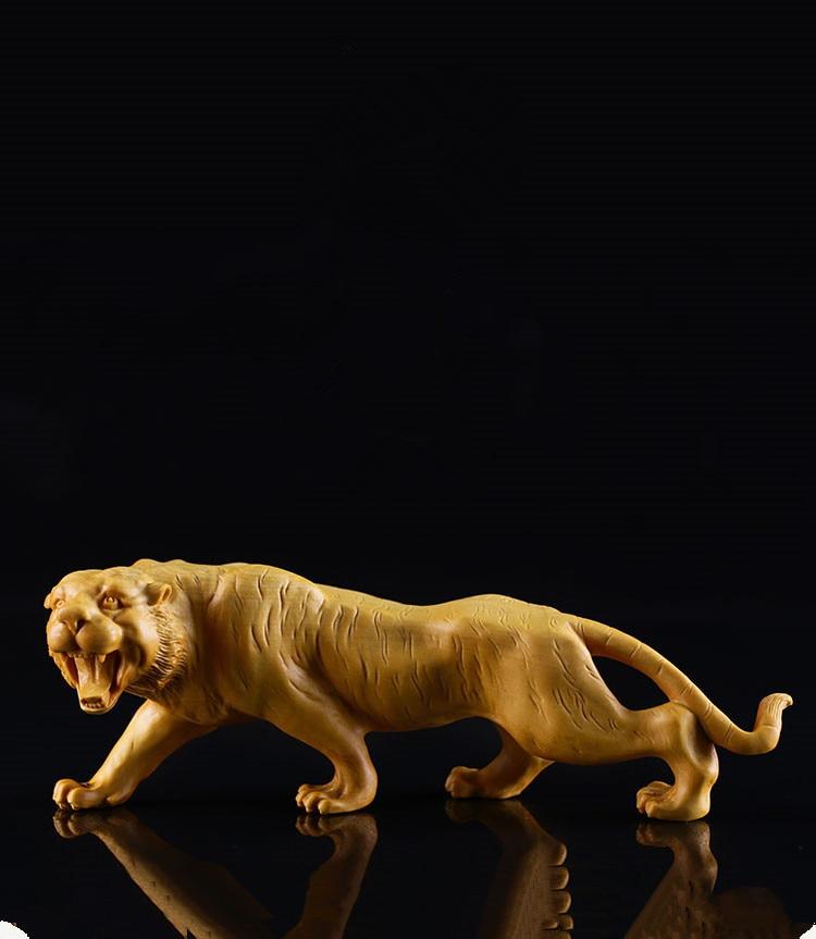 Buxus bois sculpture artisanat bois tigre tigre animal décoration feng shui ornements cadeaux créatifs.