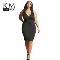 Kissmilk 2018 Big Size Fashion Women Clothing Casual Solid Sexy Summer Dress Belt V Neck Sleeveless Plus Size Dress 4XL 5XL 6XL