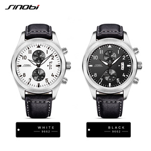 Image 2 - SINOBI Watch Men Military Chronograph Wrist Watches Luxury Brand Date Leather Clock Male Sports Shock Geneva Quartz Wristwatches