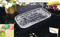 European large crystal glass plate transparent rectangular flat tray fruit dish kettle cup tray