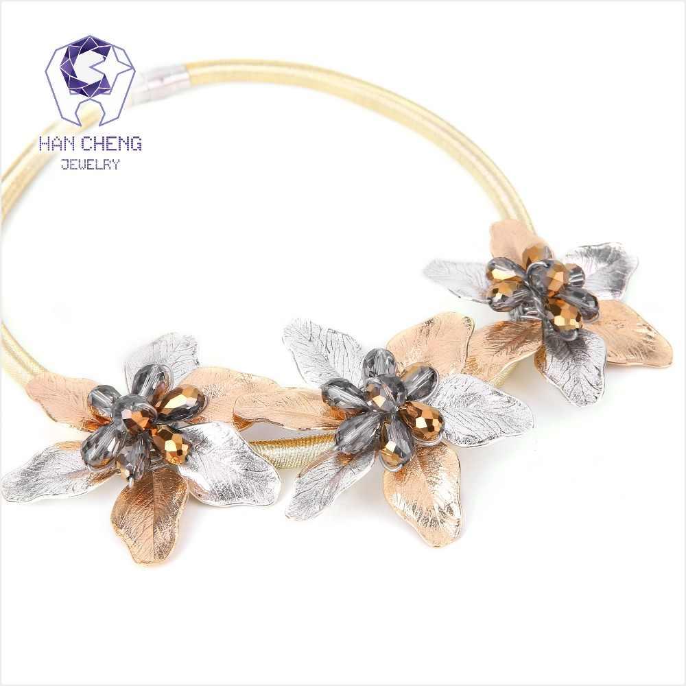 HanCheng แฟชั่นสร้างคริสตัลสีทอง/เงินดอกไม้จี้สร้อยคอ Choker สร้อยคอผู้หญิงแม่เหล็ก Statement เครื่องประดับ