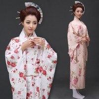 Quimonos Japoneses tradicionais 3 Estilo Mulheres Vestido Kimono Yukata com Obi Vestido da Dança Traje Cosplay