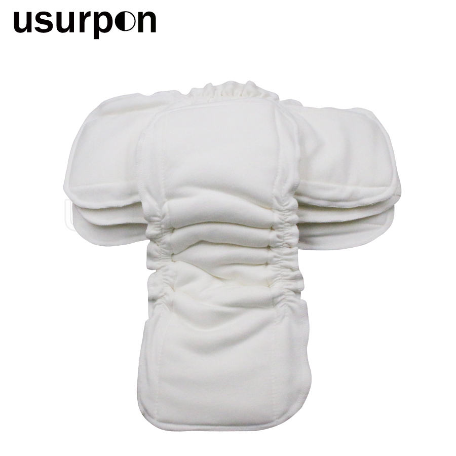 [usurpon]1pc 5 layers bamboo cotton insert with leg gusset reusable and waterproof baby nappy insert organic cotton baby insert