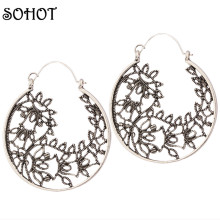 SOHOT Ethnic Style Boho Statement Jewelry Vintage Silver Carved Beautiful Flower Leaf Hoop Earrings Women Party Accessories Gift