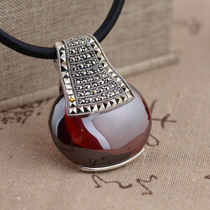 FNJ 925 Silver Pendant 100% Pure S925 Solid Thai Silver Synthetic MARCASITE Red Cubic Pendants for Women Men Jewelry Making