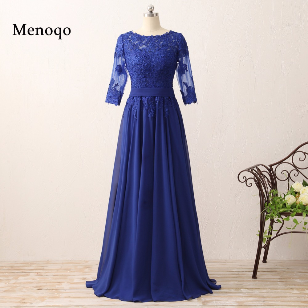 0625-04W 2018 new Vintage A line Chiffon Applique Floor length three quarter sleeve mother of the bride dresses Actual Images