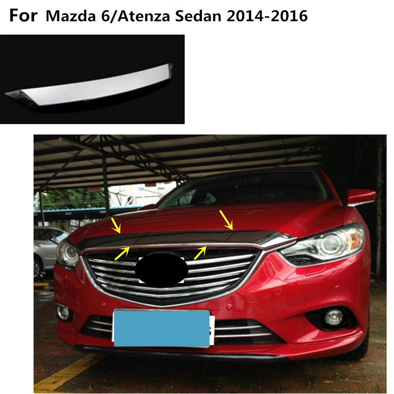 Car cover Bumper engine ABS Chrome trim Front Grid Grill Grille frame edge 1pcs For Mazda 6/Atenza sedan 2014 2015 2016 1pc chrome abs head front center grill grille bumper trim cover for mazda 6 m6 atenza 2014 2015