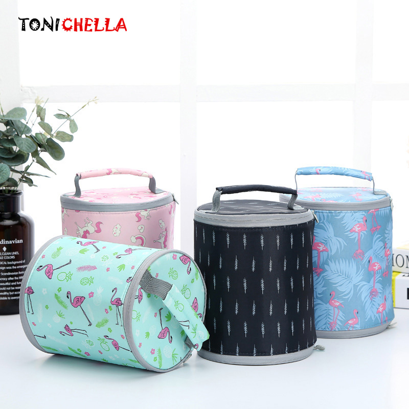Portable Round Thermal Bag Baby Lunch Food Feeding Milk Bottles Warmer Outdoor Travel Picnic Handbag Multifunctional Tote CL5509