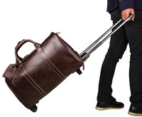 J.M.D High Quality Genuine Cow Leather Unique Tote Luggage Wheel Travel Trolley Bags Cassic Travel Duffel 7077LC