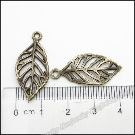 fbf2030c15f2 160 unids vendimia Amuletos hoja del árbol colgante de bronce antiguo  aleación de zinc collar pulsera apta DIY del metal joyería