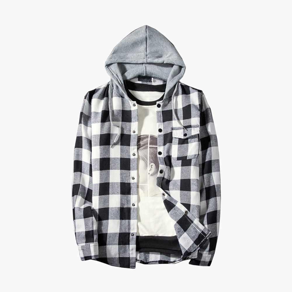 c6cab8f765bb818 FeiTong мужская куртка Осень Зима повседневные клетчатые рубашки с длинным  рукавом пуловер рубашка Топ с капюшоном