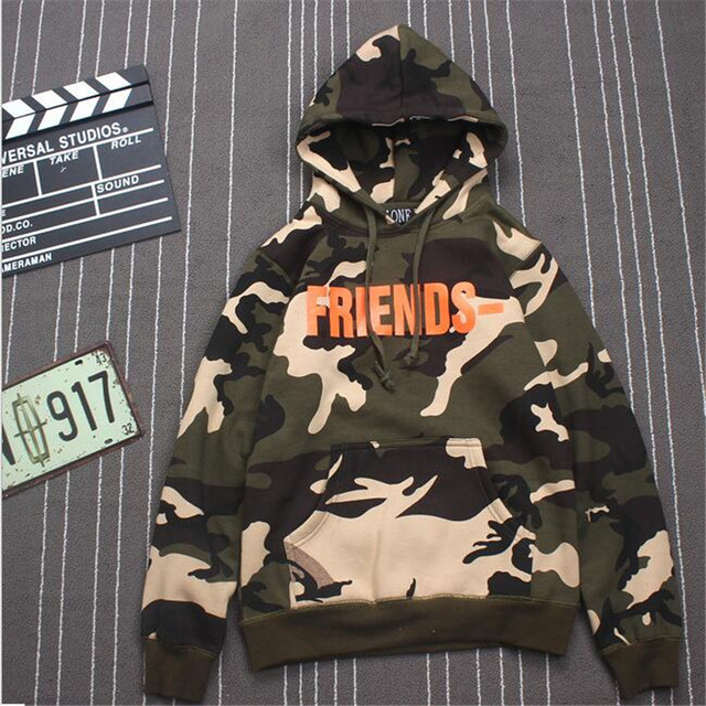 Vlone friends Hoodie men Army Green military jackets asap rocky Palace hoodie 2016 Fleece camouflage sweatshirts