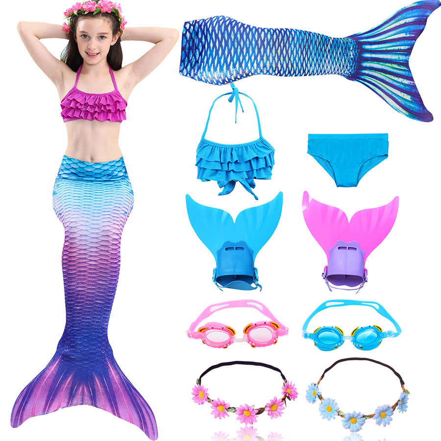2019 Girls Swimming Mermaid Tails Costume Cosplay Children The Little Mermaid Swimsuit Bikini Set For Kids With Monofin Garland