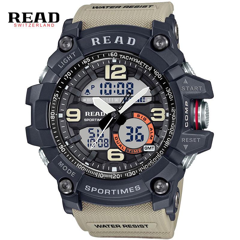 Prix pour READ marque top date Sport Militaire montres pour hommes Personnes Chronographe Numérique Chronomètre alarme Électronique horloge Discount